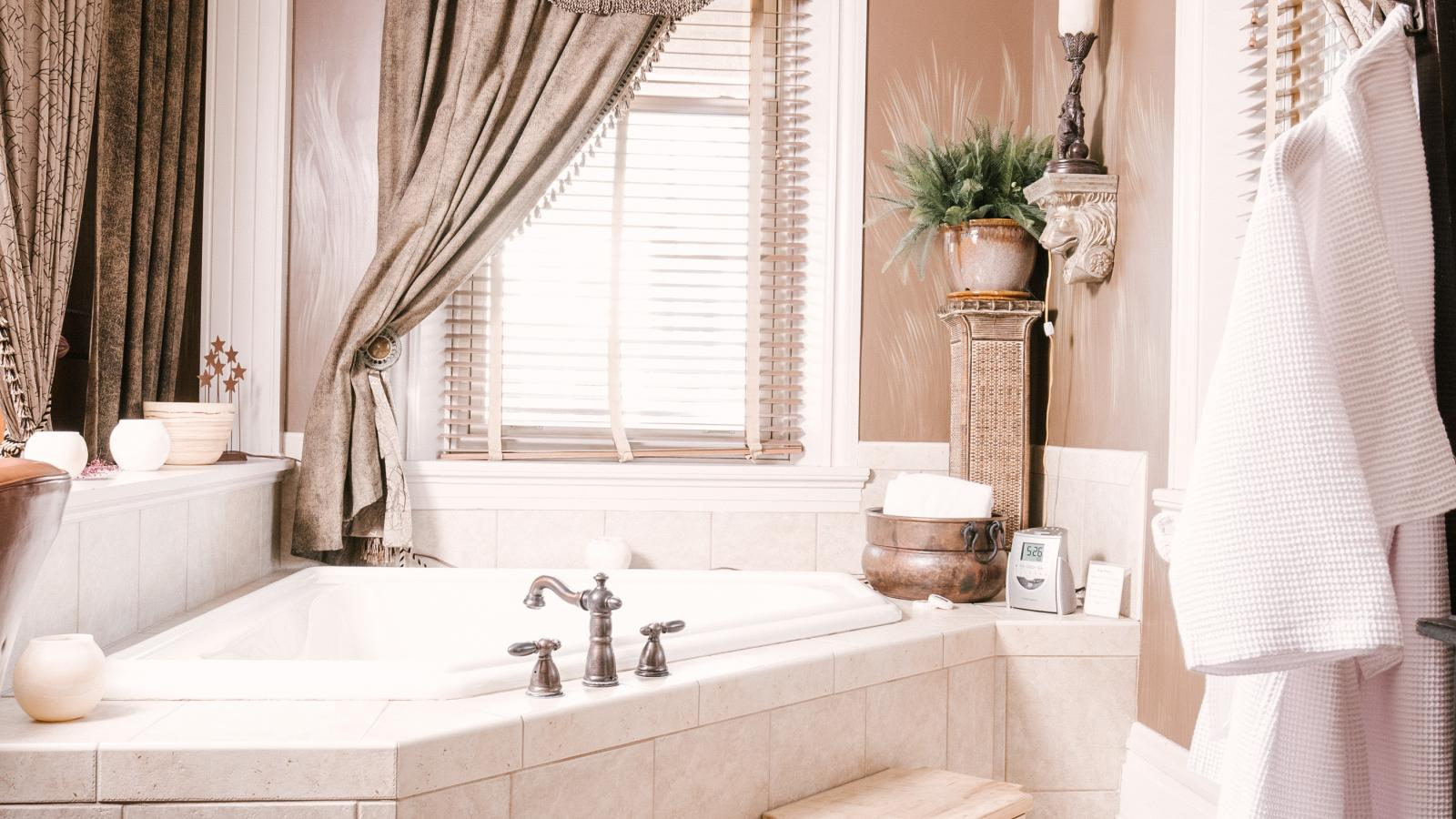 Relax in our Jacuzzi Spa Tub in the Africa Suite